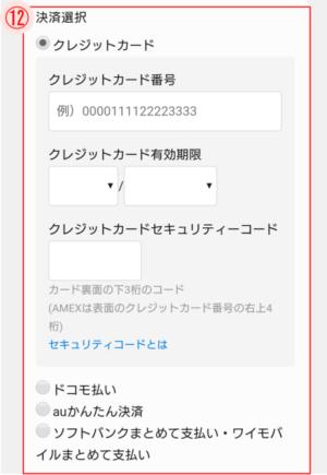 u-next決済情報入力画面